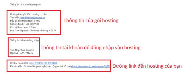 Tài khoản hosting