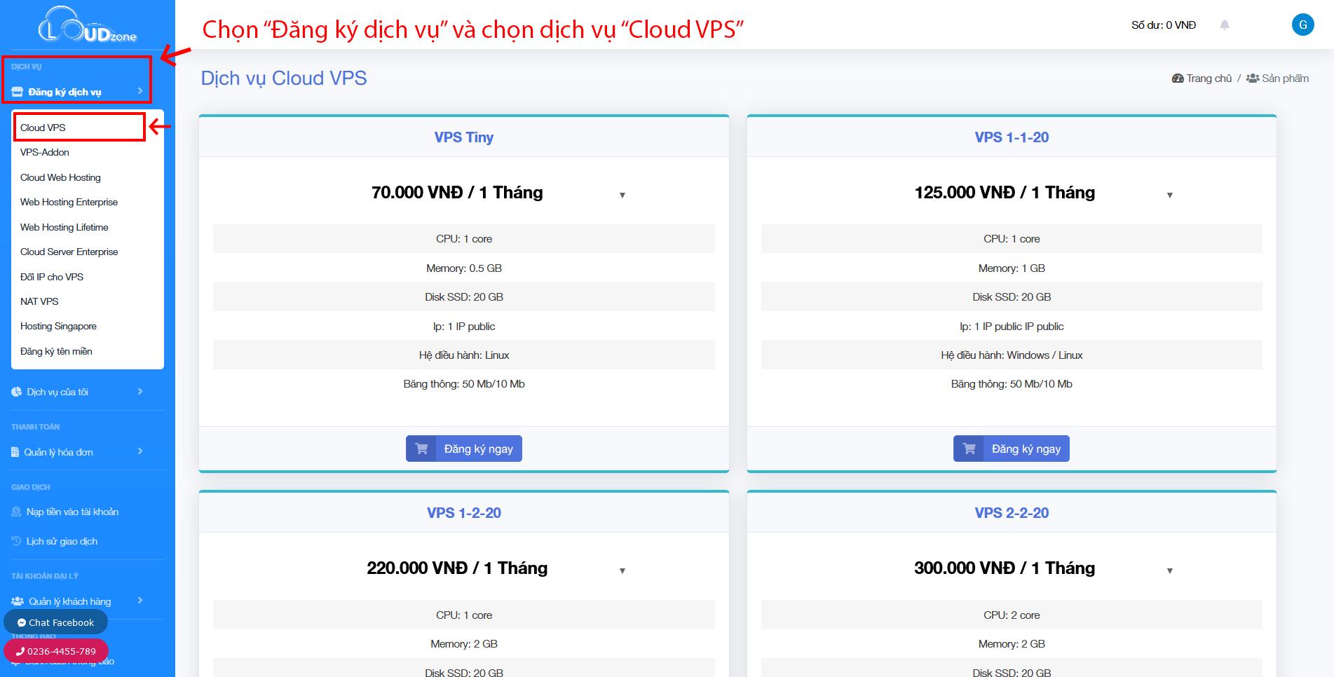 Giao diện đăng ký Cloud VPS
