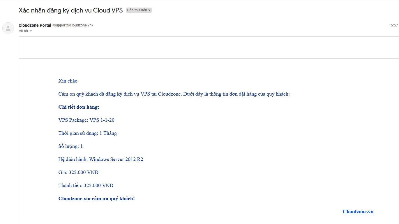 Email xác nhận đăng ký VPS