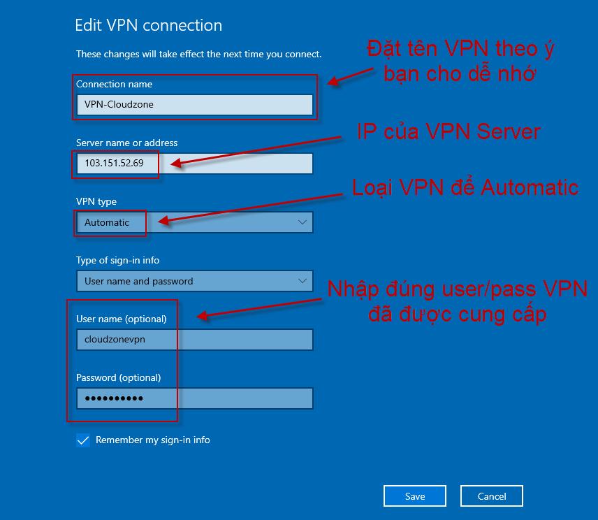 Nhập thông tin VPN Server